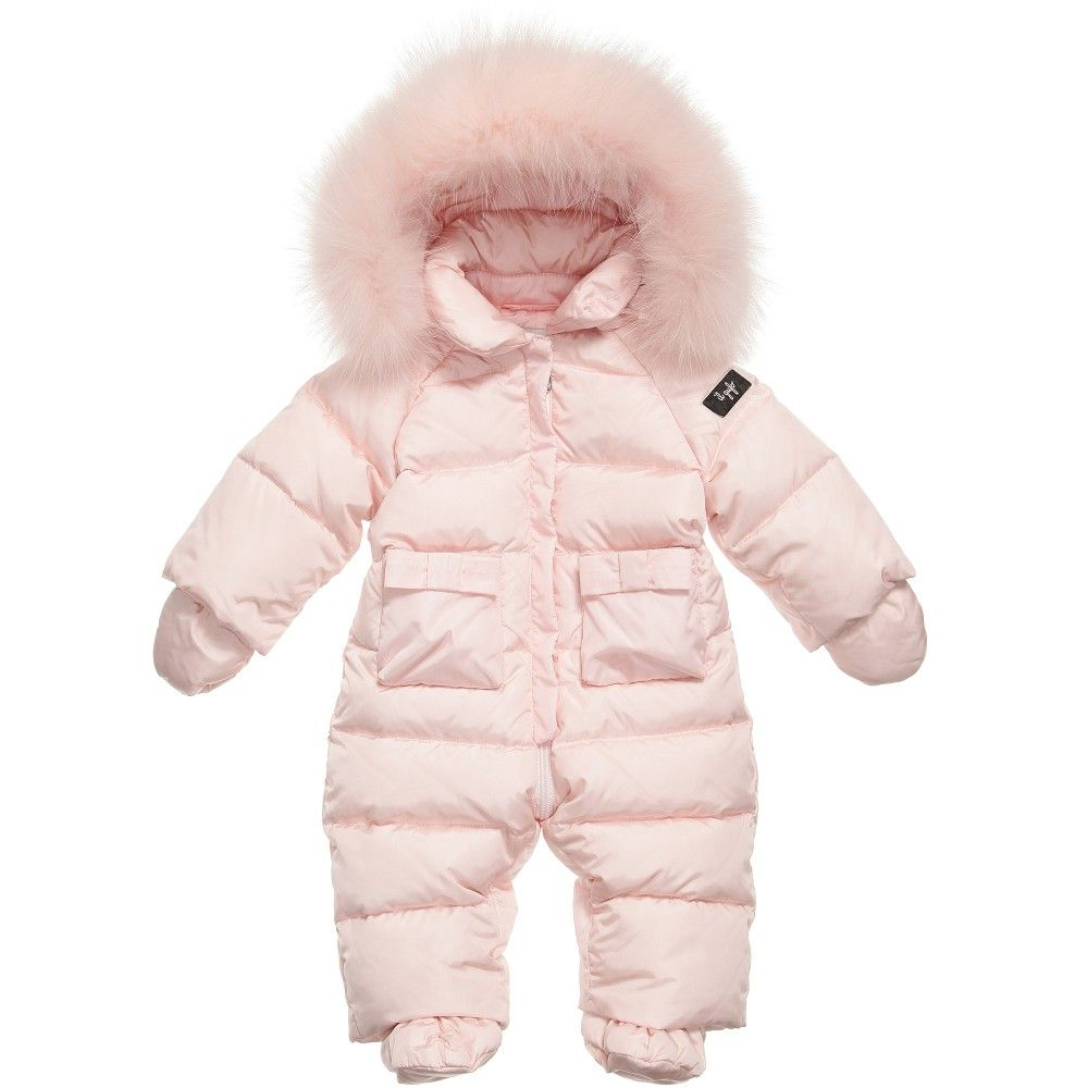 59f9a0843 Designed to ensure maximum warmth and comfort, this soft and cosy snowsuit  comes with detachable bootees and mittens. The hood is trimmed with real fur  ...