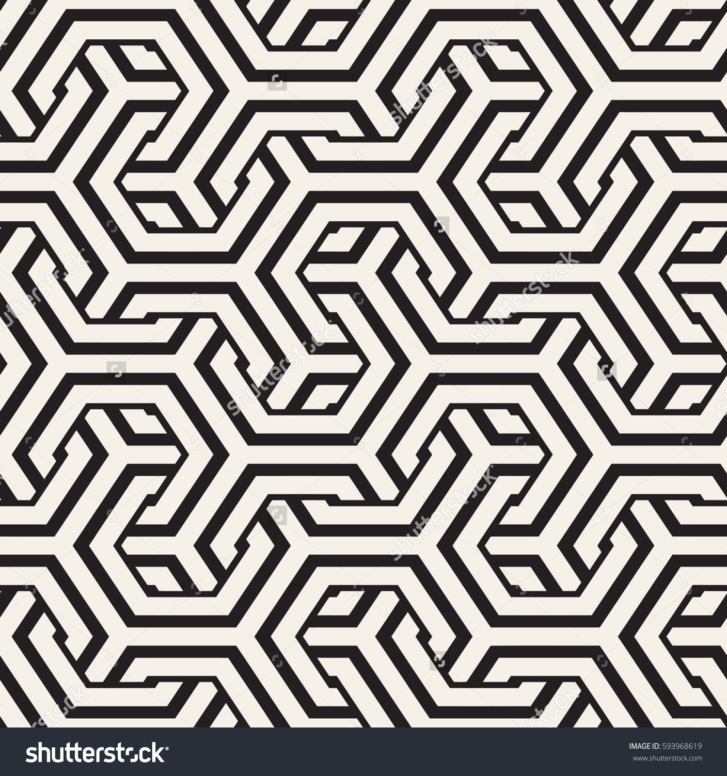 Vector Seamless Interlacing Lines Pattern Modern Stylish Texture Repeating Geometric Background With Hexagonal Lattice