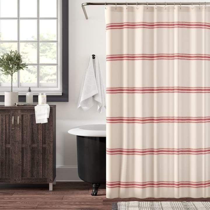 Eider Ivory Matterson Stripe Cotton Single Shower Curtain With