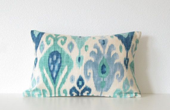 Decorative pillow cover -  12x18 - Ikat - Linen - Aqua - Blue - Sea Green - Ivory - Ikat Lumbar Pillow - ikat Pillow