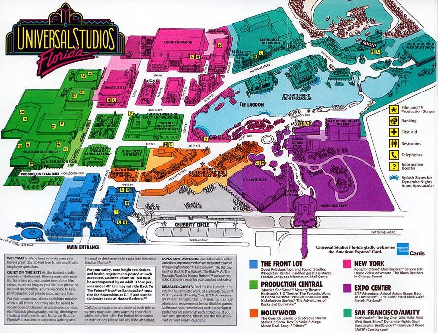 Universal Studios Florida 1992 Theme Park Maps