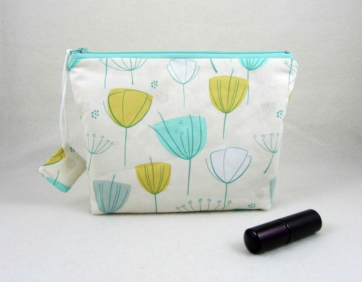 Make up bag, Cosmetic organizer, floral toiletry bag, travel organizer, zipper pouch, fabric make up pouch, mint and mustard by JRsbags on Etsy