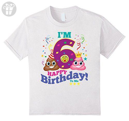 Kids Poop Emoji Happy 6th Birthday Shirt For Boys Girls Gift 8 White
