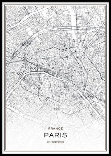 Paris Karta Poster Svartvitt Planscher Map