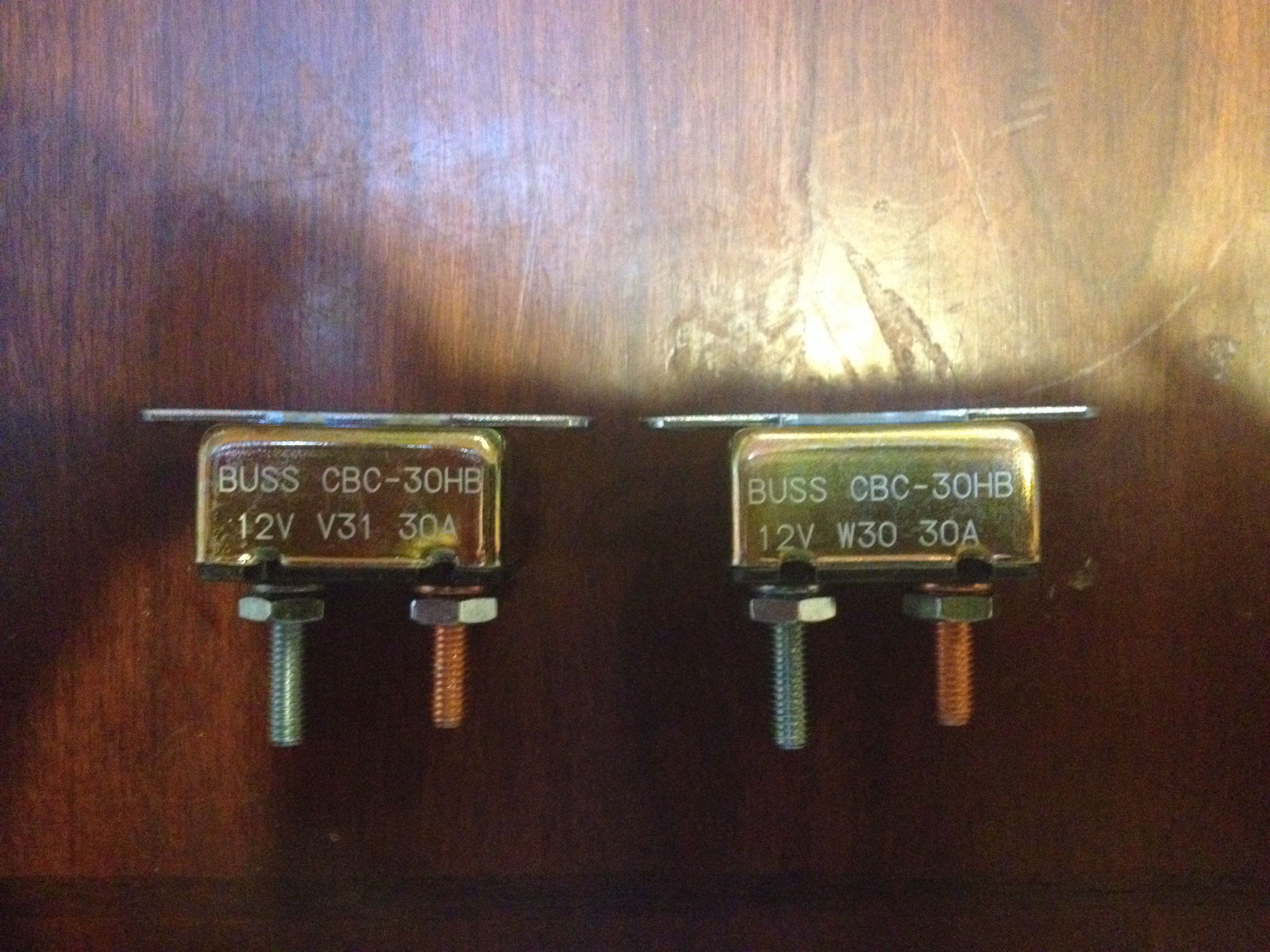 30 amp circuit breaker - one for each light pair *a 30 amp fuse can be used  in place of the breaker. I chose the breaker because it was about the same  ...