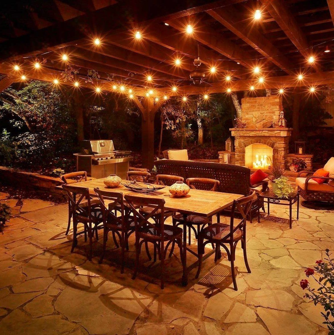outdoor in dinner ideas party string italian concept table lights decorating patio decoration