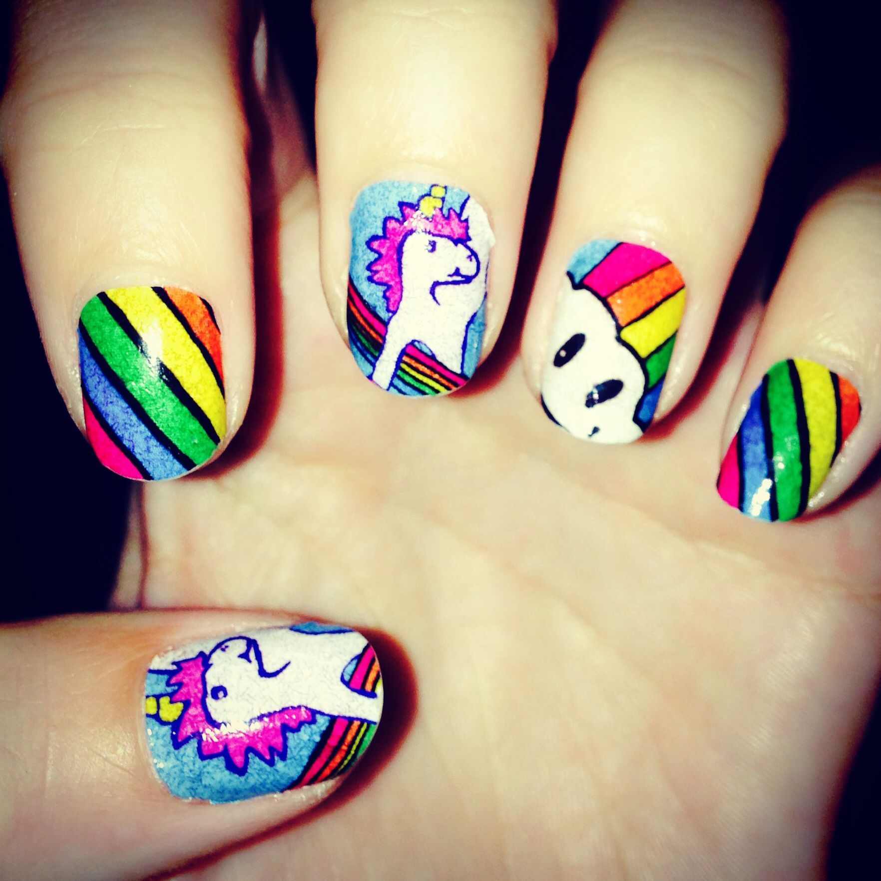 Rainbow Unicorns Nail Art! Available in kids and adult sizes! Nail ...