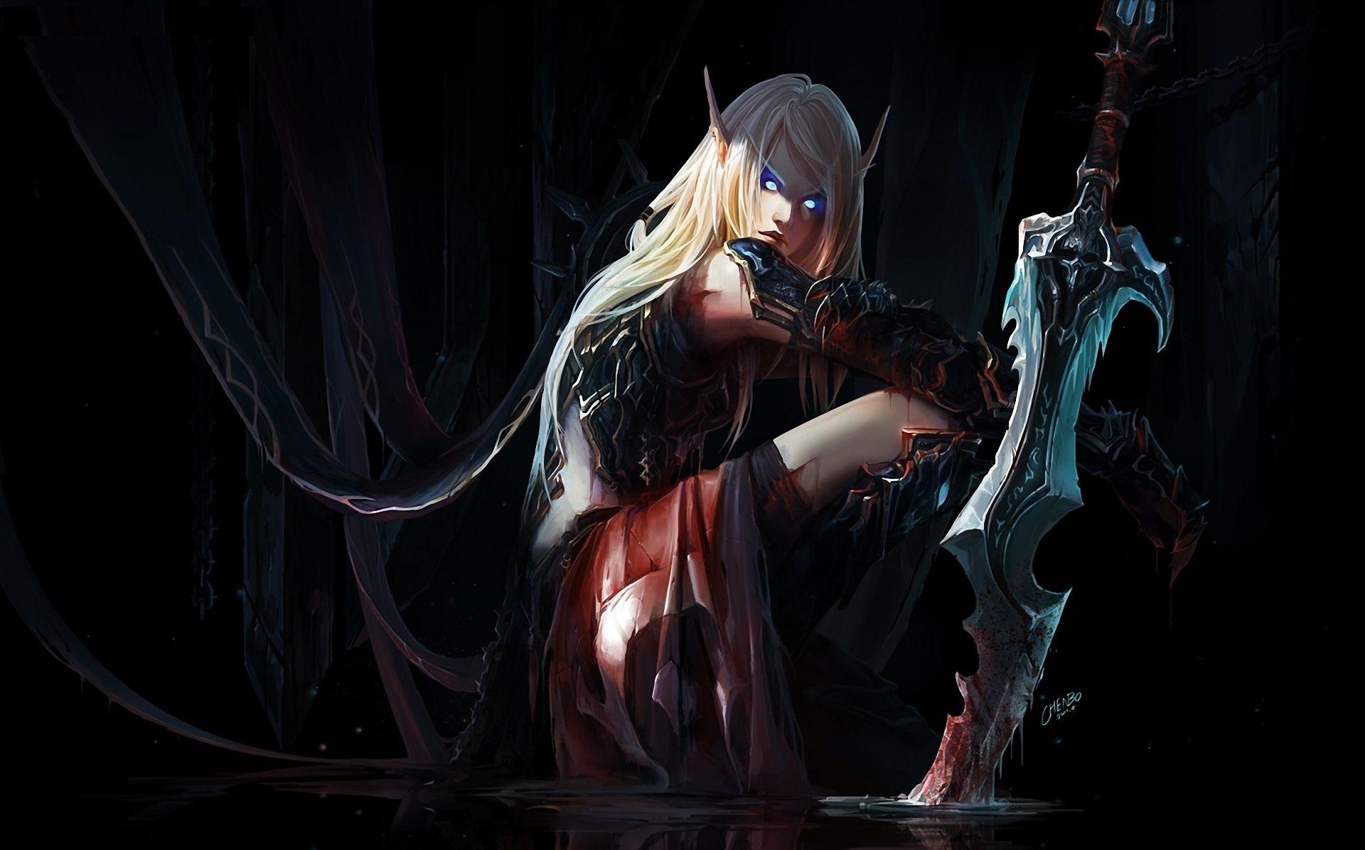 Elf warrior blood elf death knight world of warcraft wallpaper
