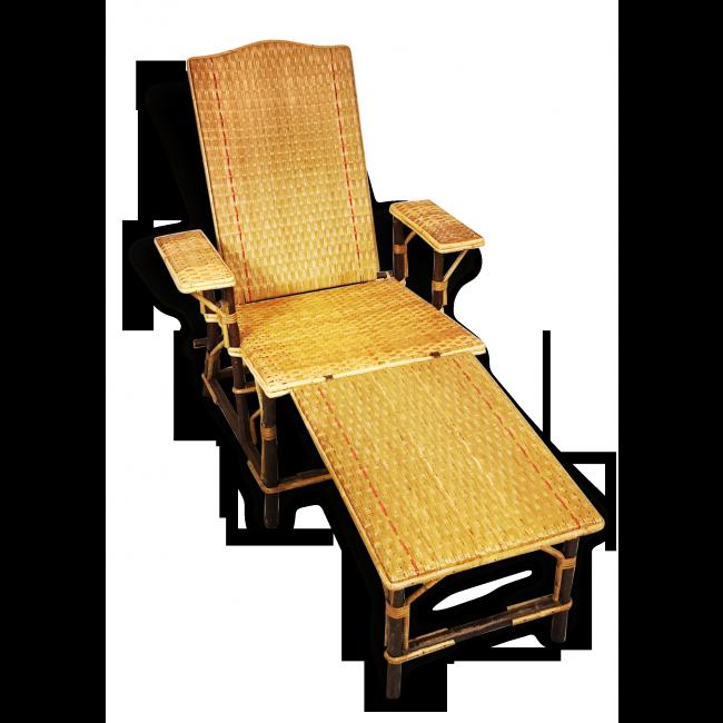 Chaise longue vintage en bambou et rotin | Mobilier de salon ...