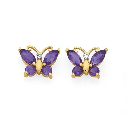 9ct Gold Amethyst & Diamond Butterfly Stud Earrings