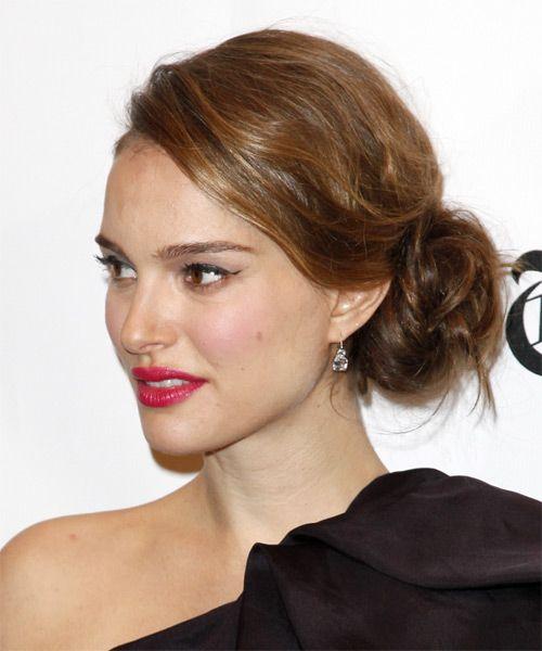 Natalie Portman Long Curly Formal Updo Hairstyle Caramel Brunette