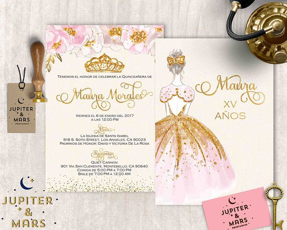 Pink and gold quinceaera invitation quinceanera invitation pink and gold quinceaera invitation quinceanera invitation stopboris Choice Image