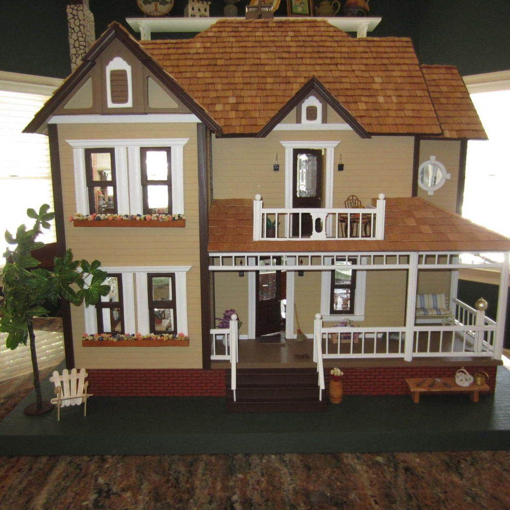 Dura Craft Fully Furnished Bellingham Farmhouse Dollhouse 1 12 Scale Doll House Crafts Doll House Dollhouse Decorating