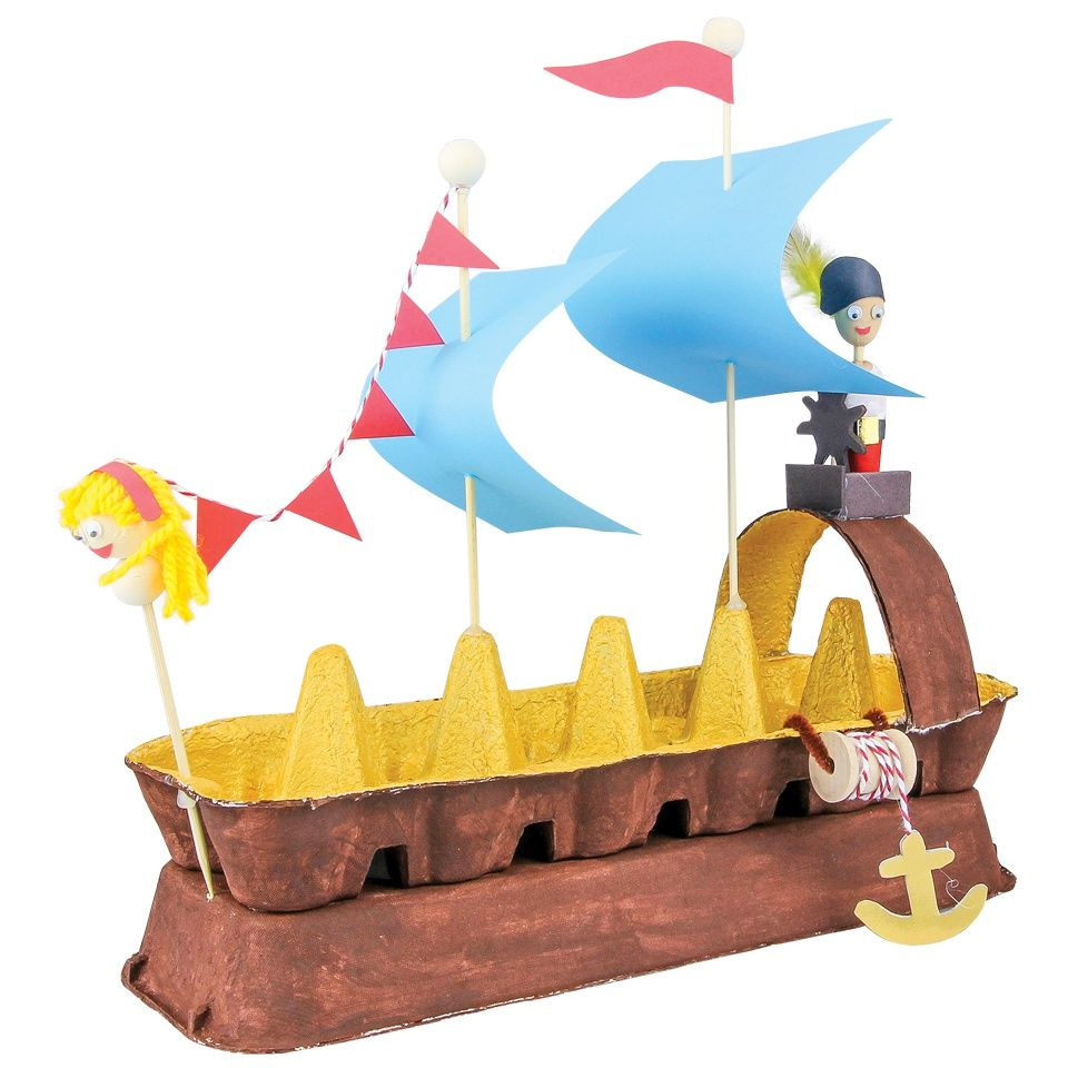 Egg carton pirate ship cleverpatch recycling for Egg tray craft ideas