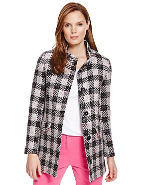 Pink Mix Funnel Neck Checked Tweed Coat with New Wool
