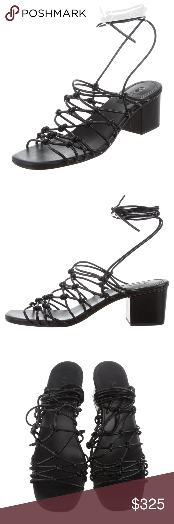 CHLOé Jamie Nero Pelle Lace Lace Up Sandalo Lace Pelle Chloe's strappy   073022