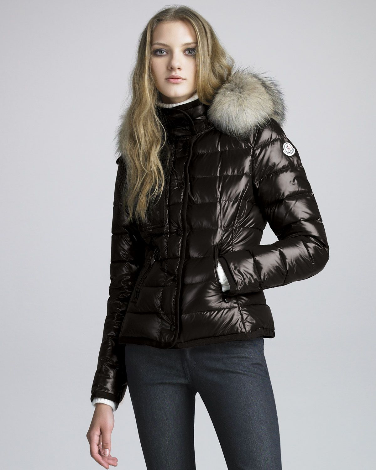 Short Coyote-Trim Lacquered Puffer Coat by Moncler at Neiman Marcus.