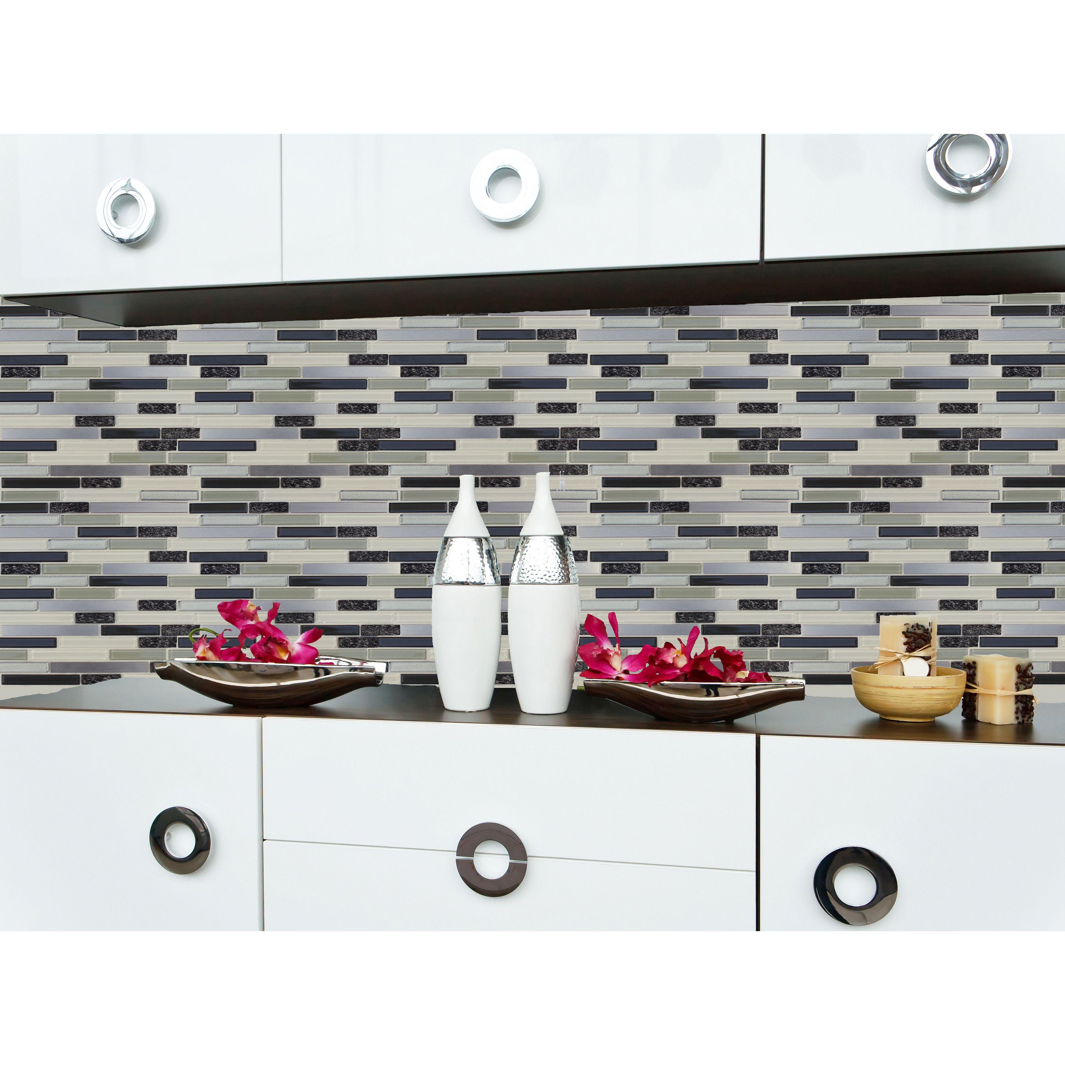 Instant Mosaic Random Sized Peel u Stick Mosaic Tile in Gray White