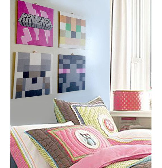 Girl Room Art Personalized Canvas 8 X8 Panel Canvas Minecraft