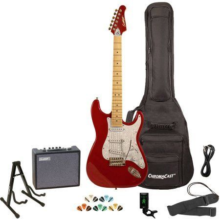 Sawtooth ES Series Electric Guitar Kit with Sawtooth 10 Watt Amp and ChromaCast Accessories, Black with Vanilla Cream Pickguard, Beige
