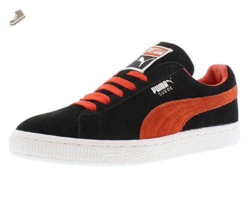PUMA Men's Suede Classic Badge Sneaker, Black White,10.5 M US