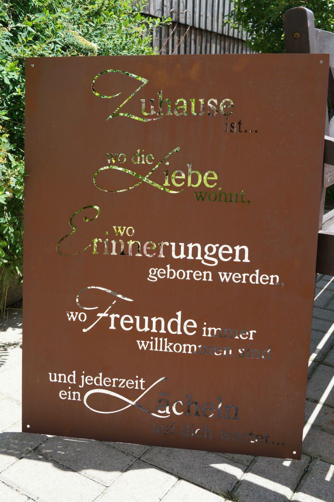 Edelrost Tafel Zuhause Breit 80cm Spruch Garten Metall Rost Schild Geschenk Deko Edelrost Geschenk Deko Sprüche Garten