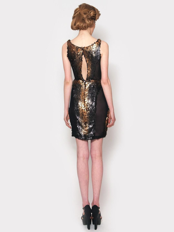 Adolfo sanchez escona sequin dress black gold bluefly up to