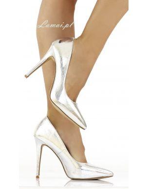 Srebrne Szpilki Czolenka Na Obcasie C 18 Metaliczne Heels Stiletto Heels Shoes