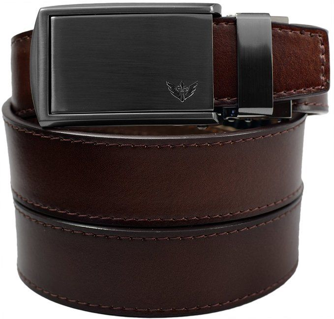 Slidebelts Men/'S Leather Ratchet Belt Black Leather With Winged Gunmetal Buckle