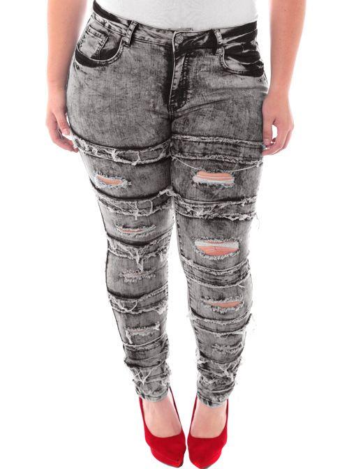 cdaeec4765d Plus Size Designer Slashed Rocker Grey Jeans