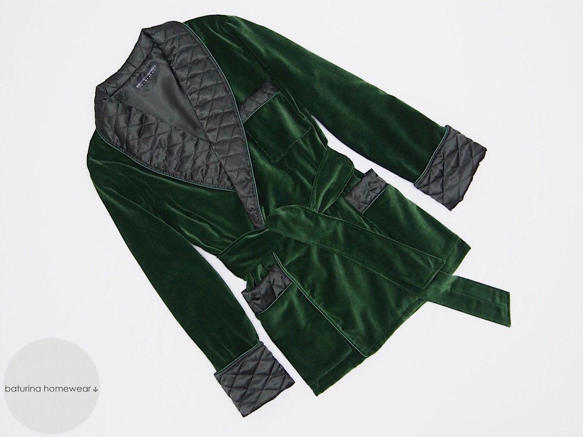 Green Velvet Men\'s Smoking Jacket Heavy Warm Quilted Silk Collar ...
