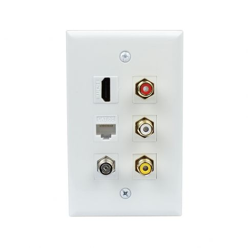 New Easy Installation 1 Hdmi 1 Cat5e Ethernet 1 Coax 3 Rca Red White Yellow Wall Plate Plates On Wall Yellow Walls Red And White