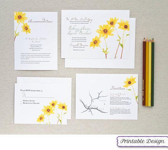 Printing Your Own Wedding Invitations: Printable Wedding Invitation Set, Watercolor Yellow Flower
