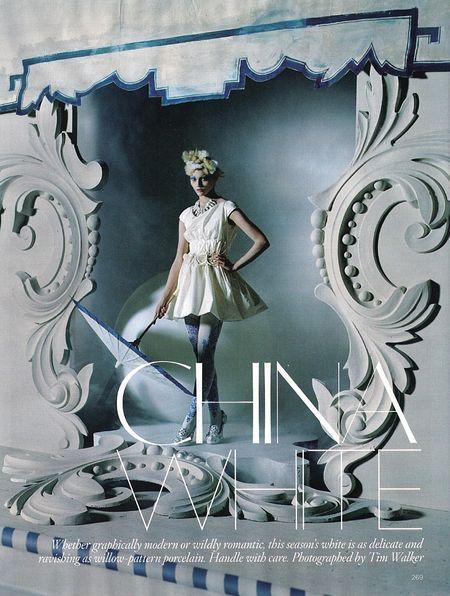 "VOGUE UK: Sasha Pivovarova in ""China White"" by Tim Walker"