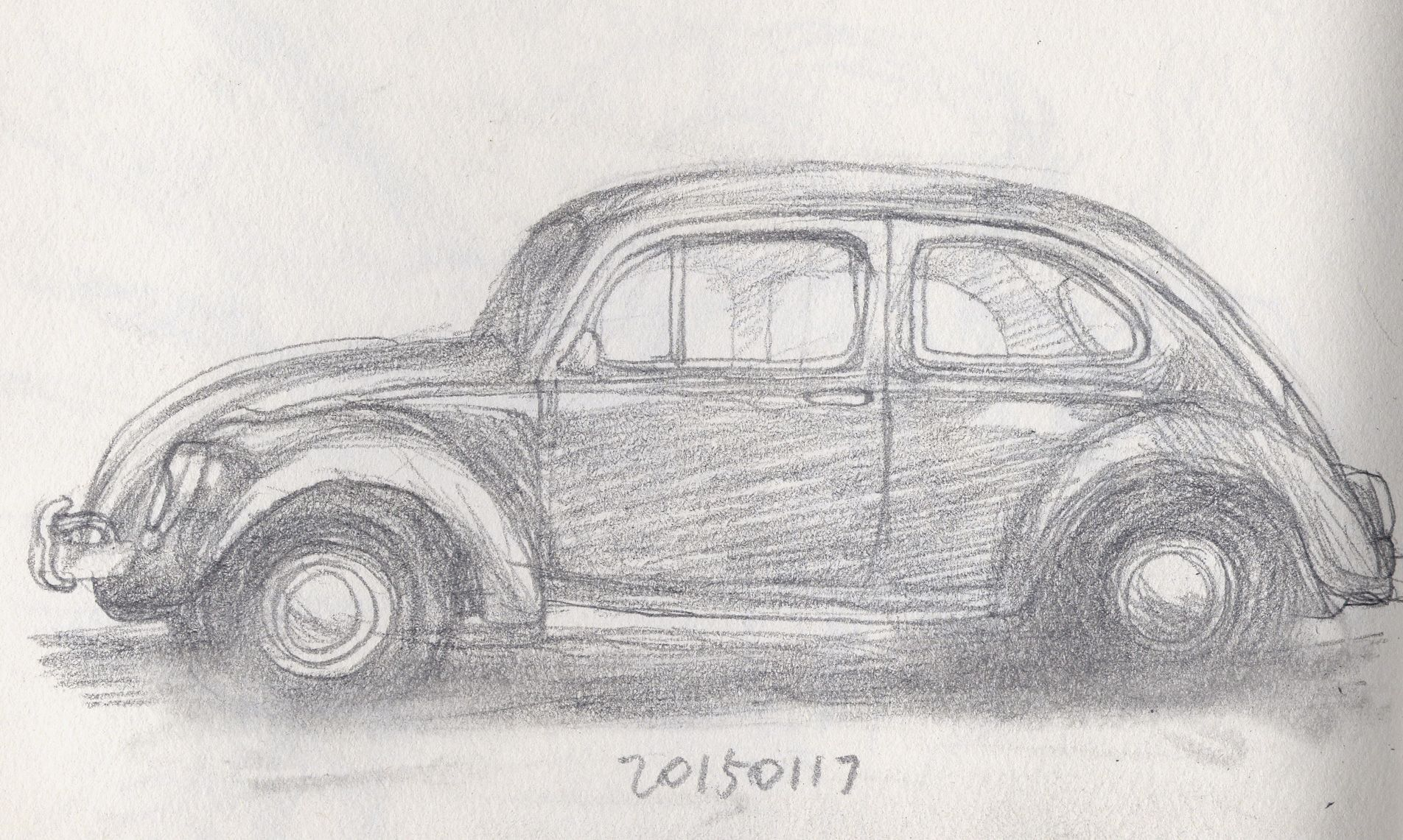 Pencil drawing an old car