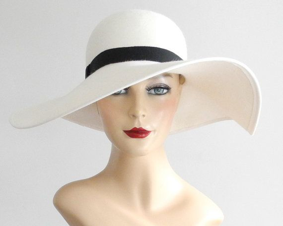 a8e37983ab7303 Floppy Wide Brimmed White Felt Hat- White Hat- Bridal Hat- Floppy Hat-  Picture Hat- Ivory Hat- Fall Fashion- Spring Fashion- Derby Hat Wide