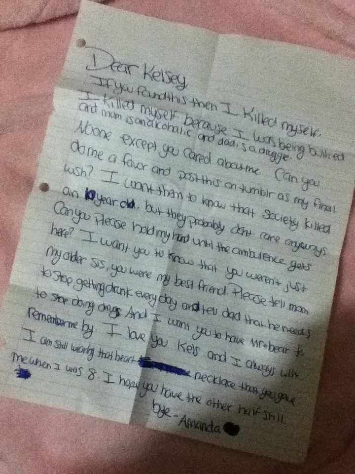 This breaks my heart.. A 10 year old committed suicide leaving this note to her sister.