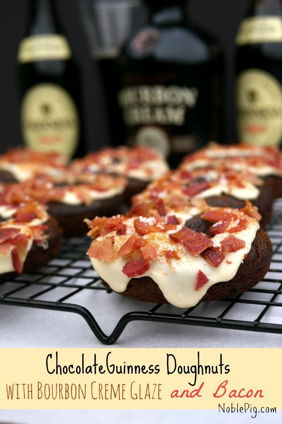 Chocolate Guinness Doughnuts with Bourbon Cream Glaze and Bacon + VIDEO Chocolate Guinness Doughnut