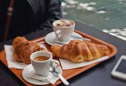 Image via We Heart It #coffee #croissant