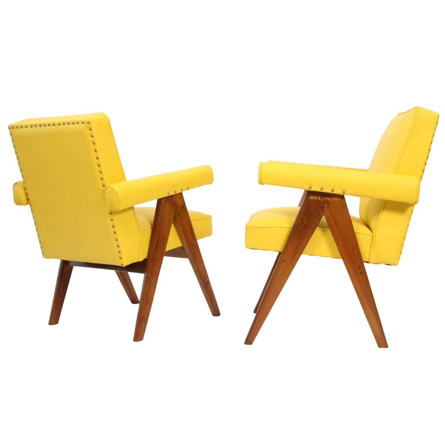 """Pierre Jeanneret Set of Two """"Senate mittee"""" Chairs"""
