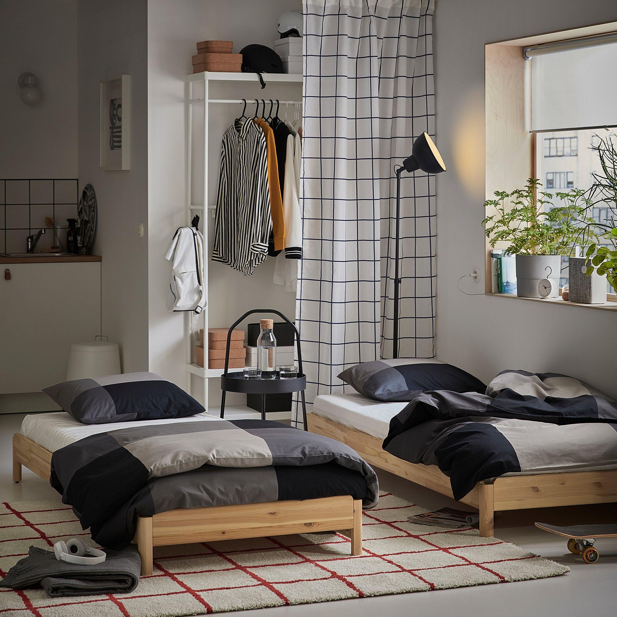 UTÅKER Stackable bed with 2 mattresses pine, Husvika