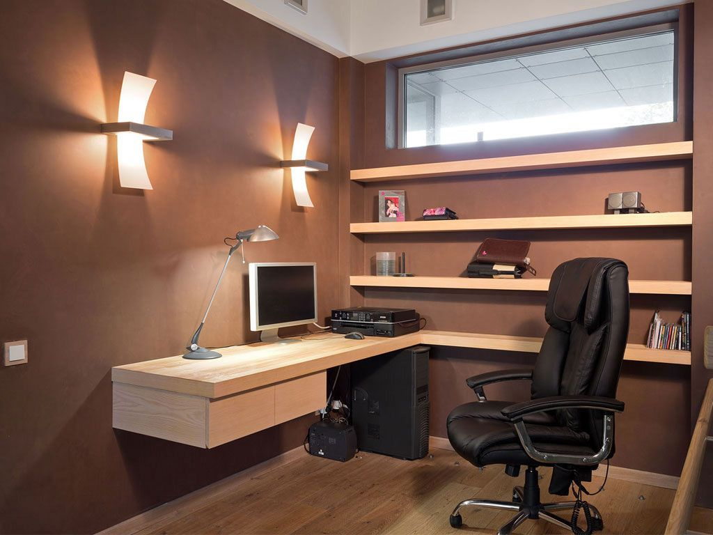 Decoration, Fancy Modern Home Office Wall Shelves Design Combined Brilliant  Hanging Office Desk Ideas Also Pretty Wall Modern Lamp Design   Fascinating  ...