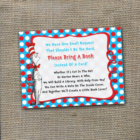 Dr Seuss Themed Please Bring A Book Instead Of Card Baby Shower