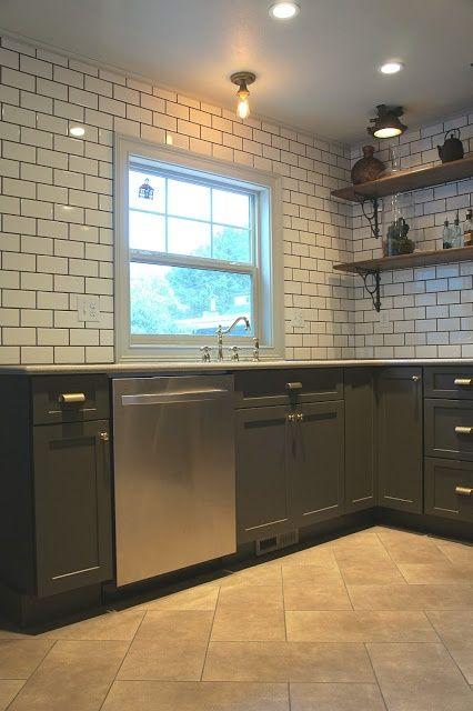 White Kitchen Tiles Black Grout
