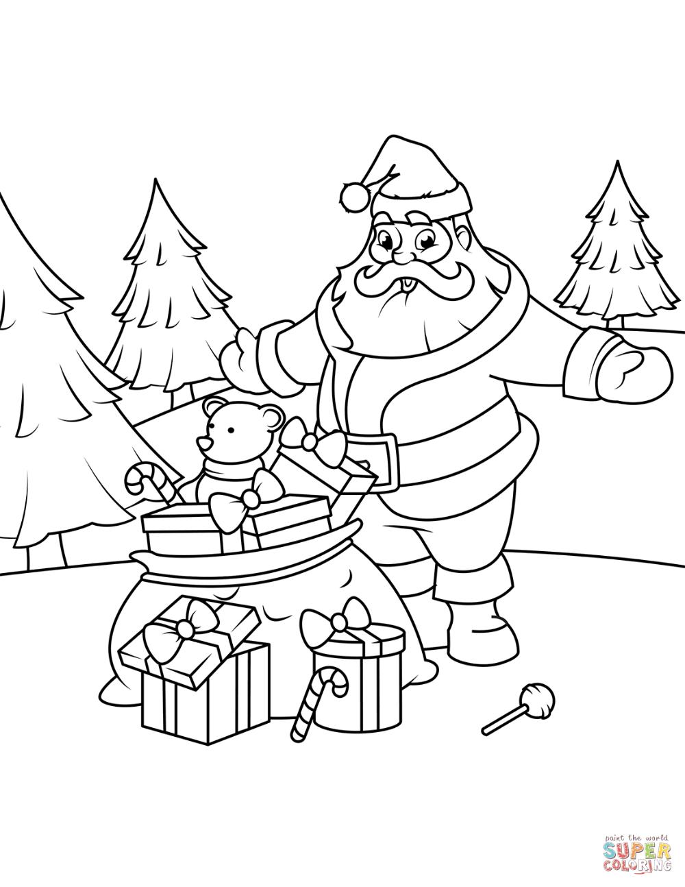 Kolorowanka Swiety Mikolaj Z Prezentami Kolorowanki Dla Dzieci Do Druku Christmas Coloring Pages Free Printable Coloring Pages Coloring Pages