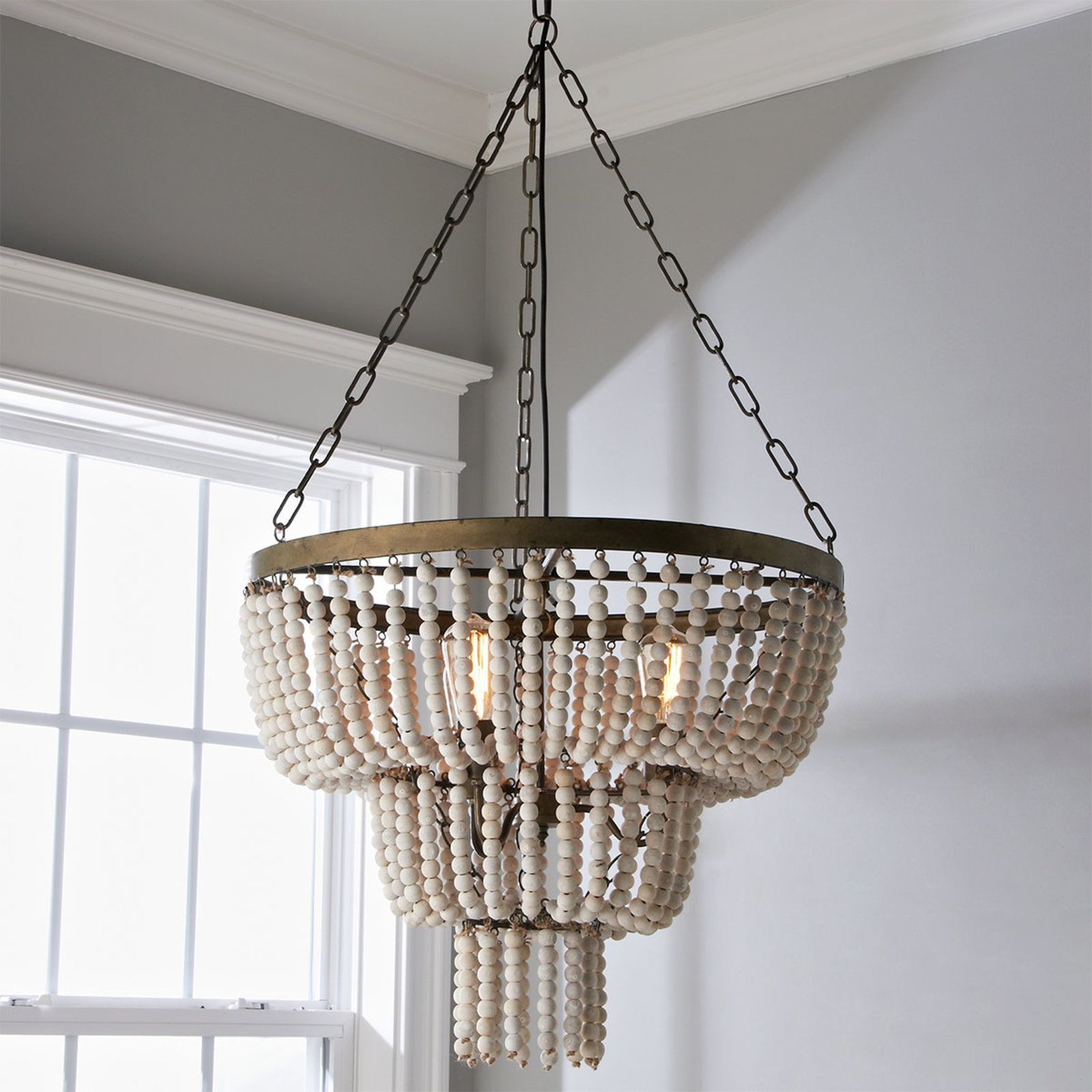 Tiered Basket Bead Chandelier Wood Bead Chandelier Rustic