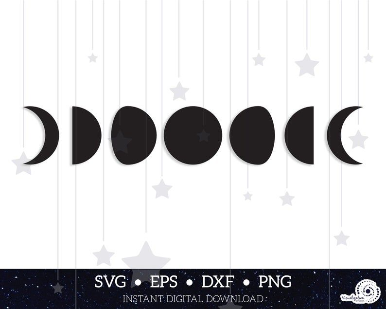 Moon Phases Vector Set Instant Digital Download Svg Etsy Moon Phases Digital Download Svg