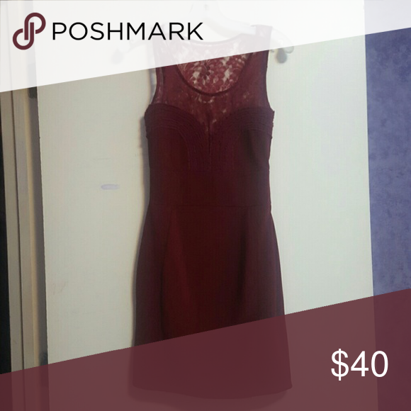 Formfitting Lace-back cocktail dress Maroon formfitting cocktail dress with lacr back. Falls at mid thigh Lipsy Dresses Mini