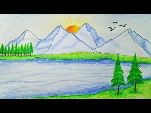 Beginners Mountain Landscape Drawing With Oil Pastel Youtube Nature Drawing Pencil Drawings Of Nature Nature Drawing For Kids