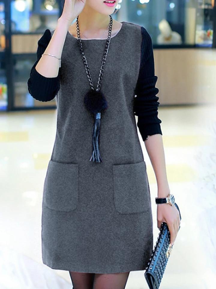 Round Neck Slit Pocket Color Block Shift Dress